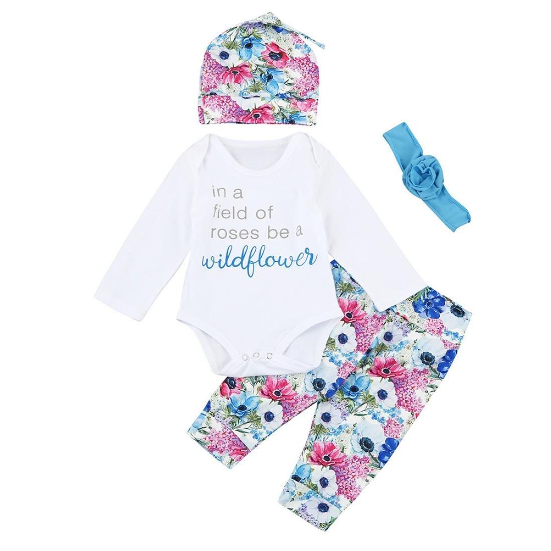 Neugeborenes Kleid Baby Brief Strampler Overall+Blumen Hosen Covermason 4PCS Babykleidung Baby M/ädchen Sommer Kleid Hut+Haarband Kleidung Outfit Set