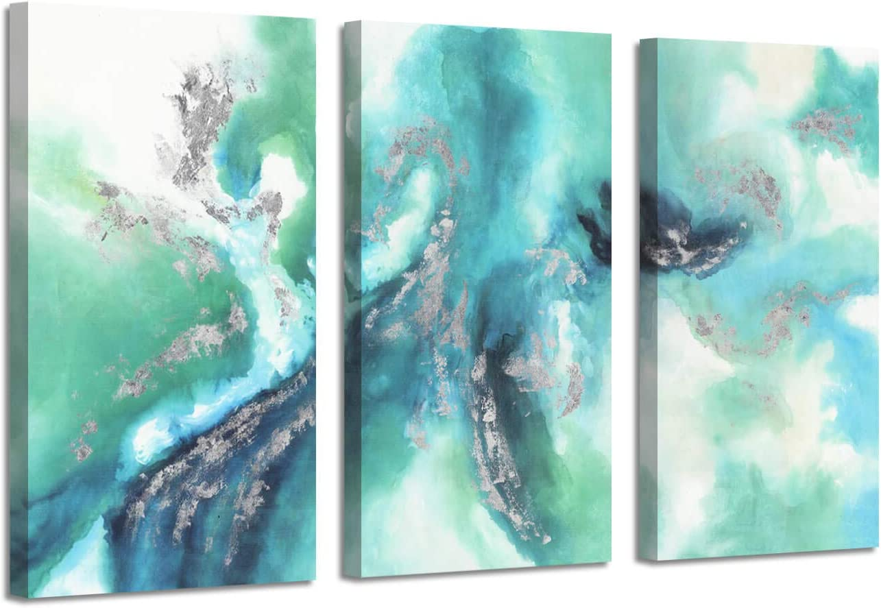 Abstract Canvas Picture Wall Art: Green Artwork Silver Foil Painting for Office (26'' x 16'' x 3 Panels)