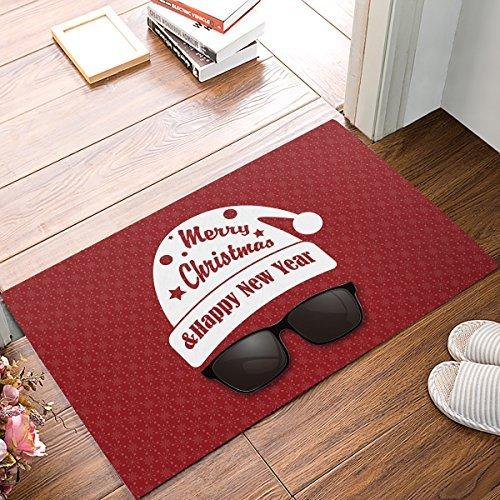 """XGL Doormat Entrance Mat Floor Mat Rug Indoor/Front Door/Bathroom Mats Non Slip 23.6""""x15.7"""" (Santa Claus Wearing Sunglasses with Red Background)"""