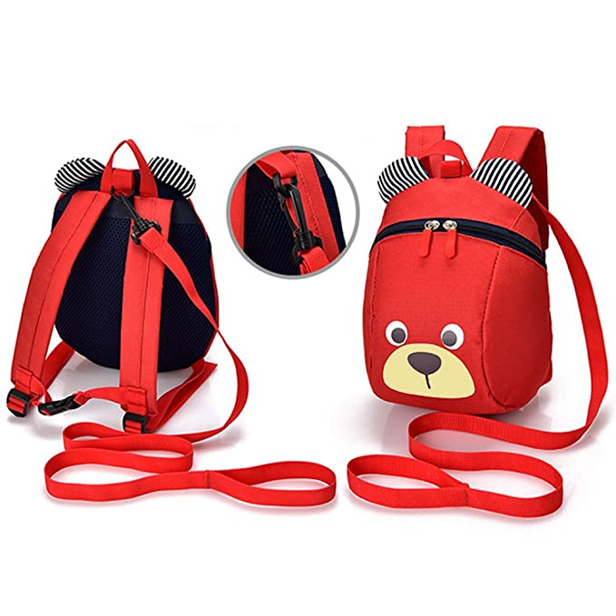 Amazon.com: DuuToo Cute Bear Children Toddler Backpack Book Bags Baby Harness bag with Safety Harnesses Reins Belt for Kids Girls and Boys,Red: Clothing