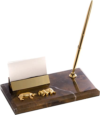 Amazon stock market business card holder with pen bull and stock market business card holder with pen bull and bear figurine colourmoves