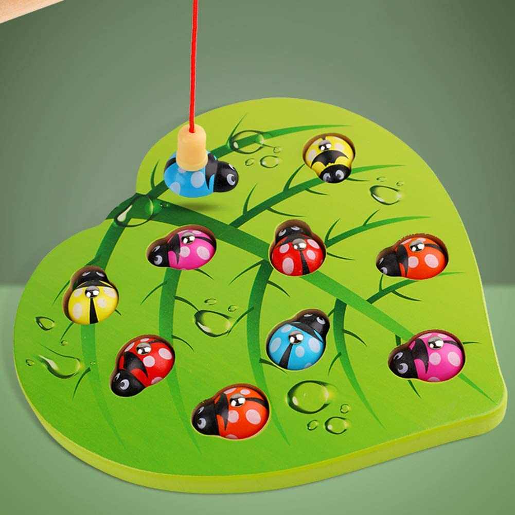 KingbeefLIU Escarabajo De Pesca De Madera Rompecabezas Magnéticos Color A Juego Educación Temprana Niños Juguete Entrenamiento En Casa Niños Jugar A Casa Temprano para Enseñar Juguetes Divertidos