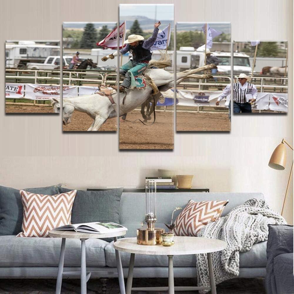 5 Paneles Cuadros Carreras de Caballos 150x80cm Pinturas sobre Lienzo Artes de la Pared Impresiones de la Lona Modular Poster Moderna Impresa HD Al Óleo Creatividad Decoración del Hogar