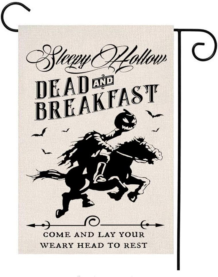 MFGNEH Sleepy Hollow Dead and Breakfast Double Sided Waterproof Halloween Decorations Garden Flag Burlap Yard Banner Lawn Outdoor Decor 12 x 18 Inch,Halloween Garden Flag