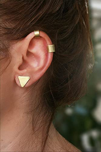 f93e21317 Amazon.com: Ear Cuff Set of Two - Gold, Brass - Ear Cuff No Piercing ...