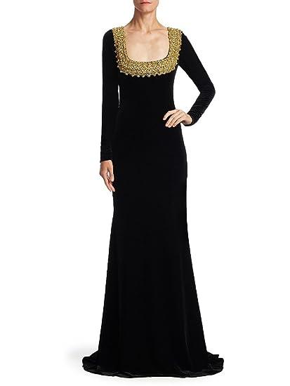 Amazoncom Badgley Mischka Embellished Long Sleeve Velvet Evening