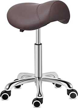 Amazon Com Kaleurrier Saddle Stool Rolling Swivel Height Adjustable With Wheels Heavy Duty Anti Fatigue Stool Ergonomic Stool Chair For Lab Clinic Dentist Salon Massage Office And Home Kitchen Coffee Furniture Decor