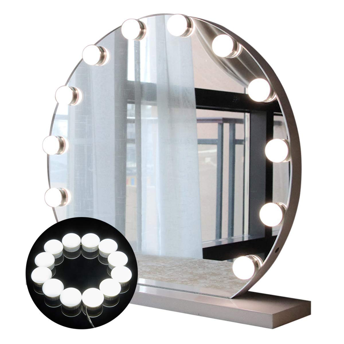 Hollywood Style LED Vanity Mirror Lights Kit, Guckmall 12 LED 17.6ft 7000K Dimmable Daylight White Flexible LED Light Strip with Dimmer for Makeup Vanity Table Set in Dressing Room Mirror Not Included