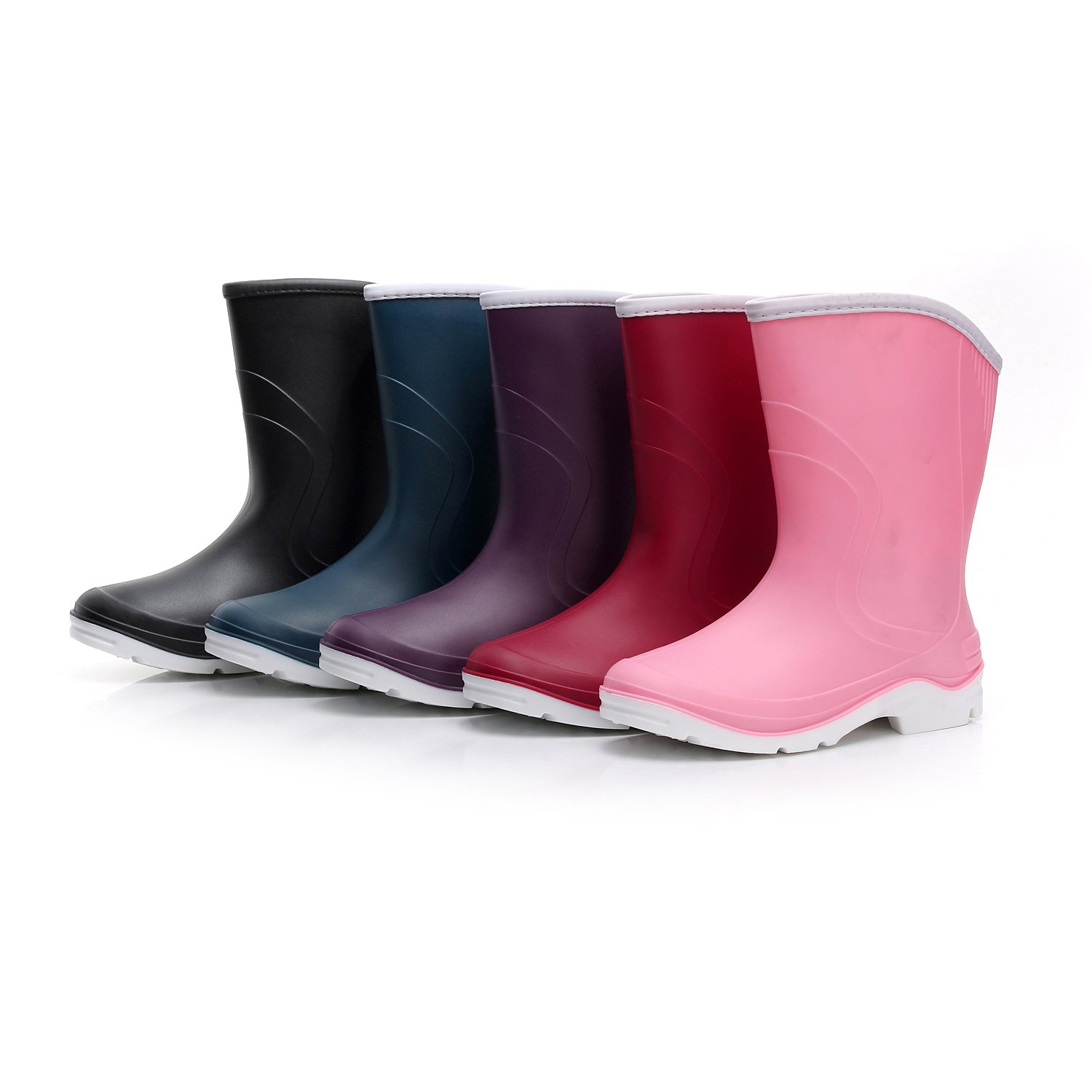 Kontai Women Half Calf Ankle Rubber Rainboots 2 Color Waterproof Boots for Garden Rain Round Toe Rainboots Size 7.5 by Kontai (Image #9)