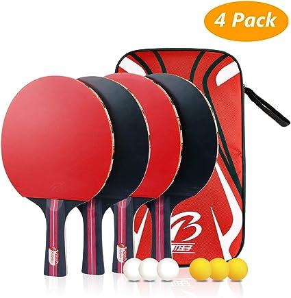 Tencoz Juego de Tenis de Mesa, Raquetas de Tenis de Mesa Profesionales 4 Raquetas de Ping Pong Alta Velocidad Juego de Tenis de Mesa para el Juego de Interior al Aire Libre: