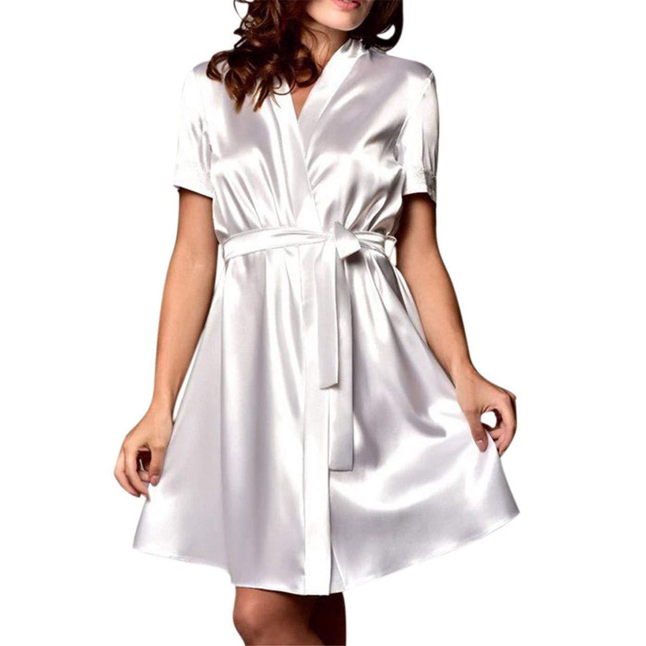 TIFENNY Women's Satin Nightdress Soft Silk Backless Lace Lingerie Nightgown Sleepwear Summer Sexy Short Sleeve Robe