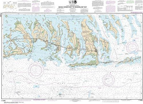 "Price comparison product image NOAA Chart 11445 Intracoastal Waterway Bahia Honda Key to Sugarloaf Key: 27.63"" X 37.63"" Rolled Canvas Map"