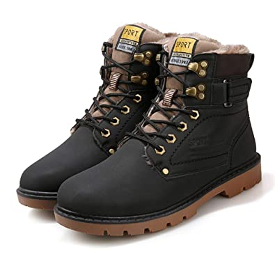 Mens Winter Vintage High Top Faux Fur-Lined Lace-up Leather Sneakers Warm Ankle Snow Boots