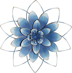 """H HOMEBROAD. Large Metal Flower Decor Wall Hanging Decorations Indoor or Outdoor Wall Art Sculptures, Blue, 13"""""""