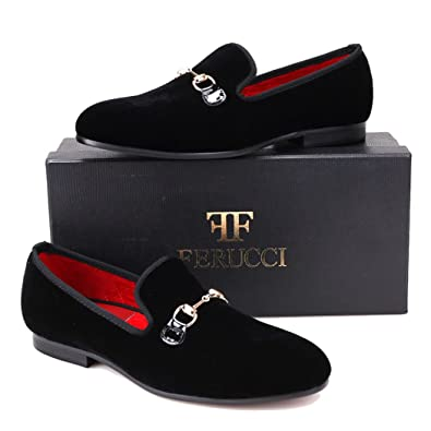 a50e0c77b0498 Amazon.com | FERUCCI Men Black Velvet Slippers Loafers Flat with ...