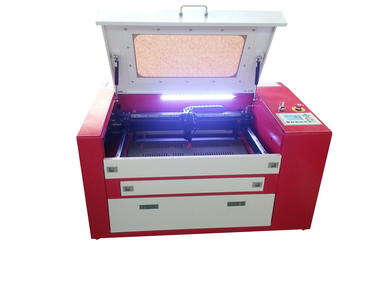 MegaLane 50W CO2 Laser Cutter Engraver Cutting Engraving Machine 300500MM Electric Up&Down Worktable,Red Dot Positioning DSP Control,Rotary Device Included