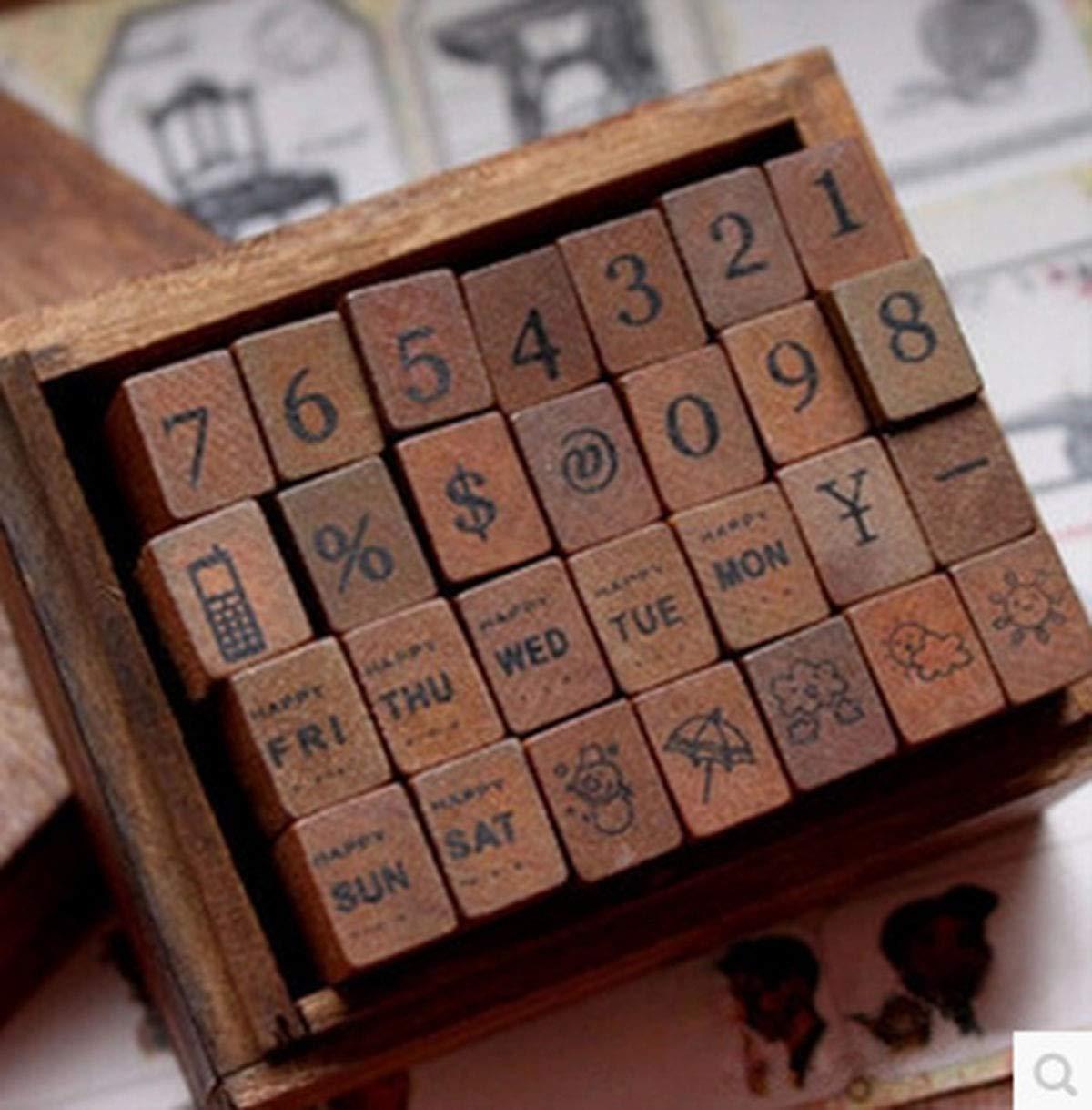 Yansanido 28pcs//Set Wooden Box Multipurpose Number Week Weather Wood Rubber Stamp 28pcs Number Week Weather