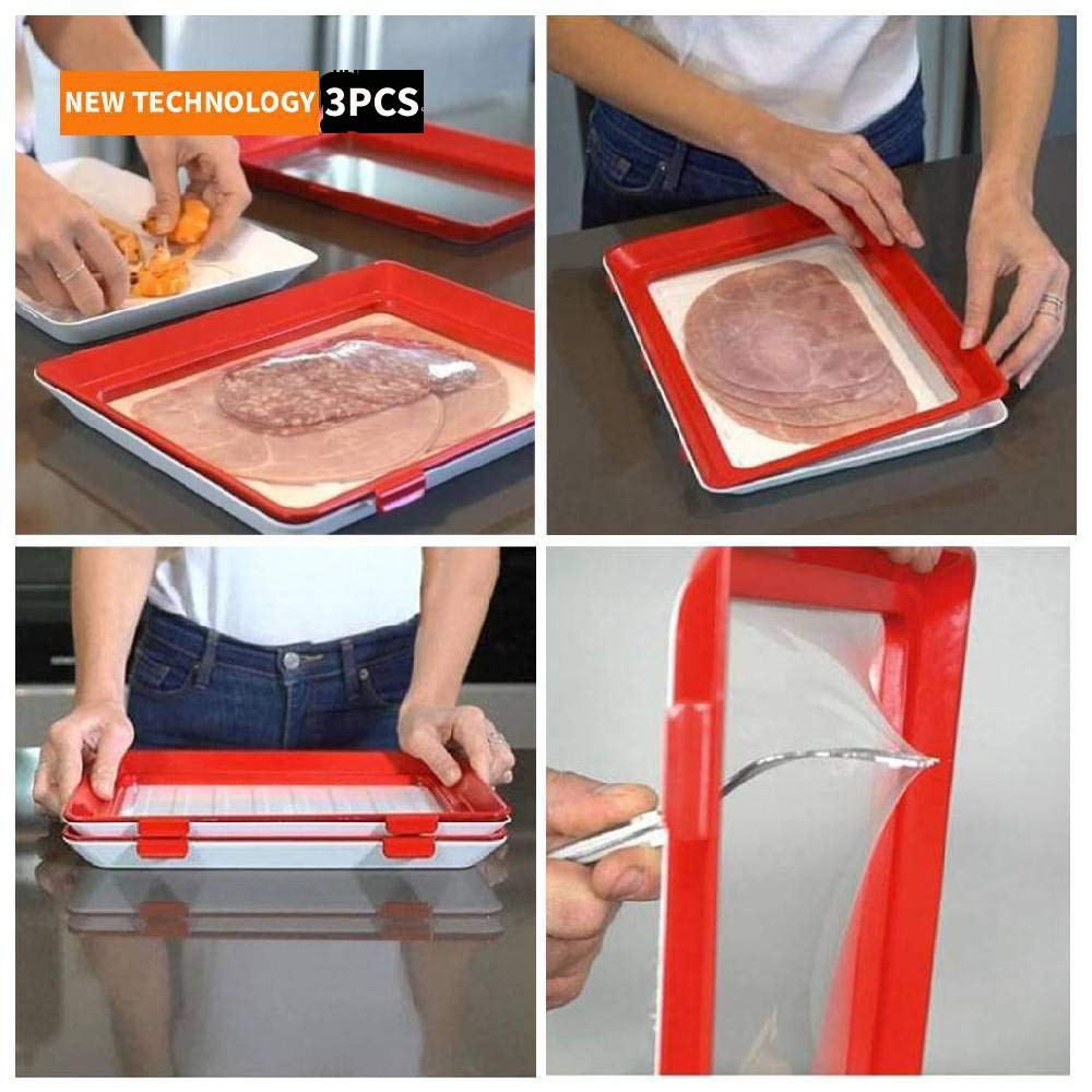 Flurries  Magic Elastic Fresh Tray with Removable Lid - Food Vacuum Preservation Tray - Rectangular Plastic Serving Platters - Fresh-Keeping Dish Expert - Storage Container (3PCS)