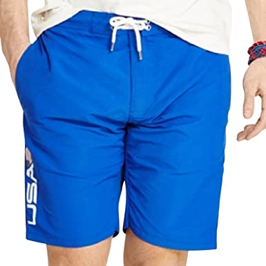 Polo Ralph Lauren Men\u0027s Blue Team USA Swim Trunks, Rugby Royal (X-Small