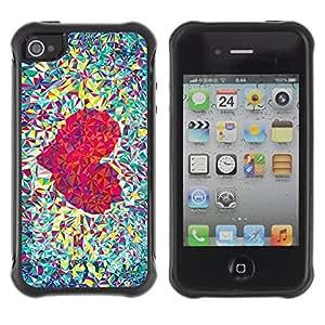 ZAKO Cases / Apple Iphone 4 / 4S / Polygon Love Heart / Robusto Prueba de choques Caso Billetera cubierta Shell Armor Funda Case Cover Slim Armor