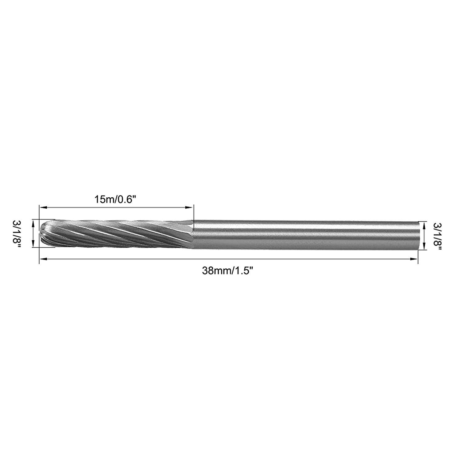 uxcell Carbide Burrs Single Cut Rotary Burrs Files Cylinder Shape Cutting Burrs with 1//8 Shank 1//8 Head for Die Grinder Bits 2pcs