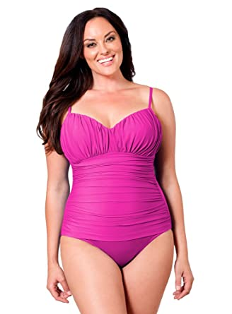 5e04bb4be69 Image Unavailable. Image not available for. Color: Miraclesuit Fuchsia Plus  Solid Rialto One Piece Swimsuit ...