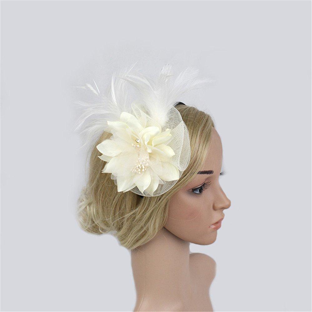 LYQ Princess Marine Feder Haarband Kopf Blumen Fascinator Hochzeit Damen Day Race Royal Ascot Hut (Farbe : Aprikose)