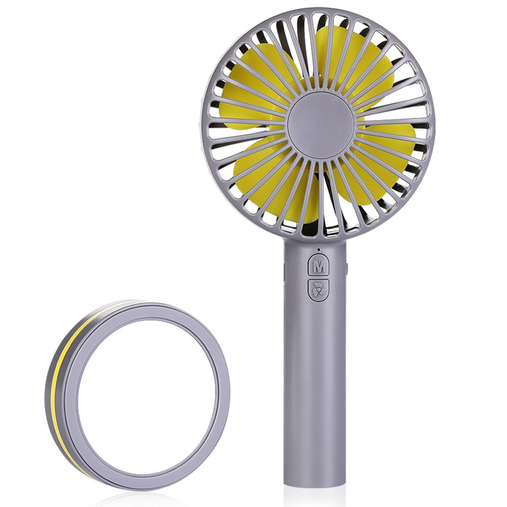 Hand Held Fan Mini Fan Portable - Idealife USB Rechargeable Hand Fan Battery Operated Fan with 3 Adjustable Speeds Mirror Base Handheld Fan Small Cooling Fan for Desk Home Office Travel Outdoor Activities, Gray