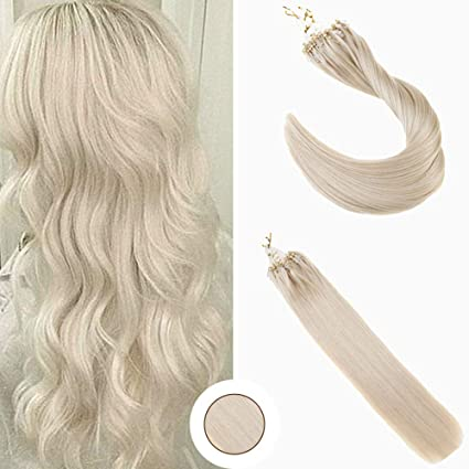 Ugeat 16 Pulgadas Micro Ring Extensiones de Cabello Natural Rubio Platino Color #60 Extensiones Micro