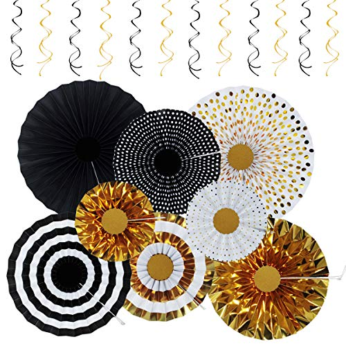 Black Gold Silver Party Decorations (Premium Birthday Party Decorations, KIMHY Party Supplies with Gold Paper Fan Garland, Black, Gold Hanging Swirls for Birthday Party, Graduation)