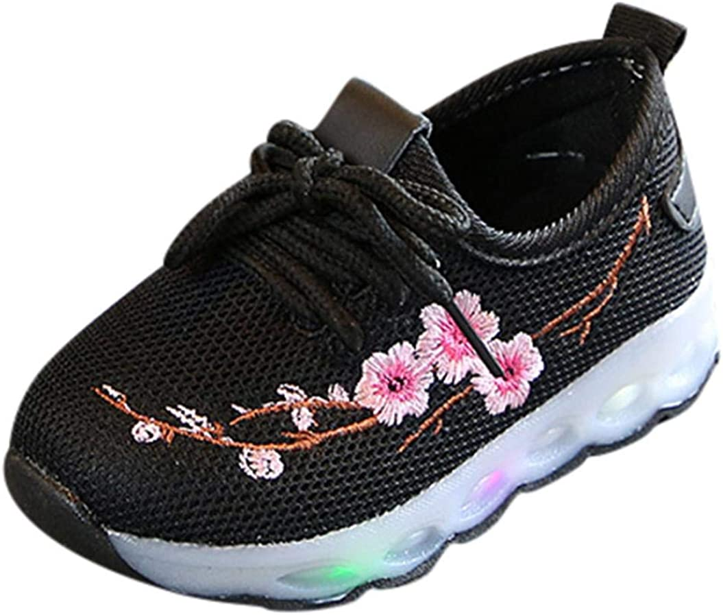 Zerototens Kids Led Shoes,1-6 Years Old Toddler Infant Baby Embroidery Flower Sport Running Light up Luminous Shoes Lace up Sneakers Boots Soft Bottom Outdoor Athic Shoes