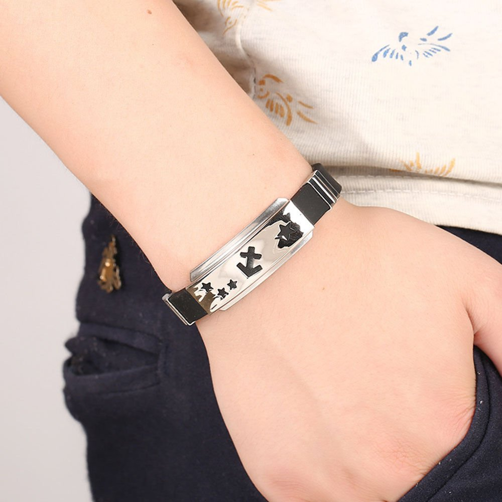 Unisex 12 Constellation Stainless Steel Astrology Silicone Bangle Bracelet CN LOVE STORY (Virgo) by LOVE STORY (Image #2)