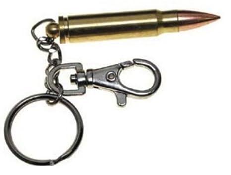 Llavero de bala, cartucho inerte, con mosquetón, latón ...