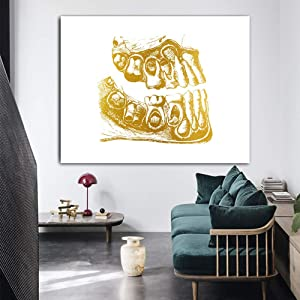 TYG Canvas Wall Art, Wall Painting Tooth Gold Dental Art Dentist Medical Education on Canvas Giclee Posters Home Decor Picture Wallpaper for Living Room/Bedroom/Office Unframed 1 PC (Only Canvas)