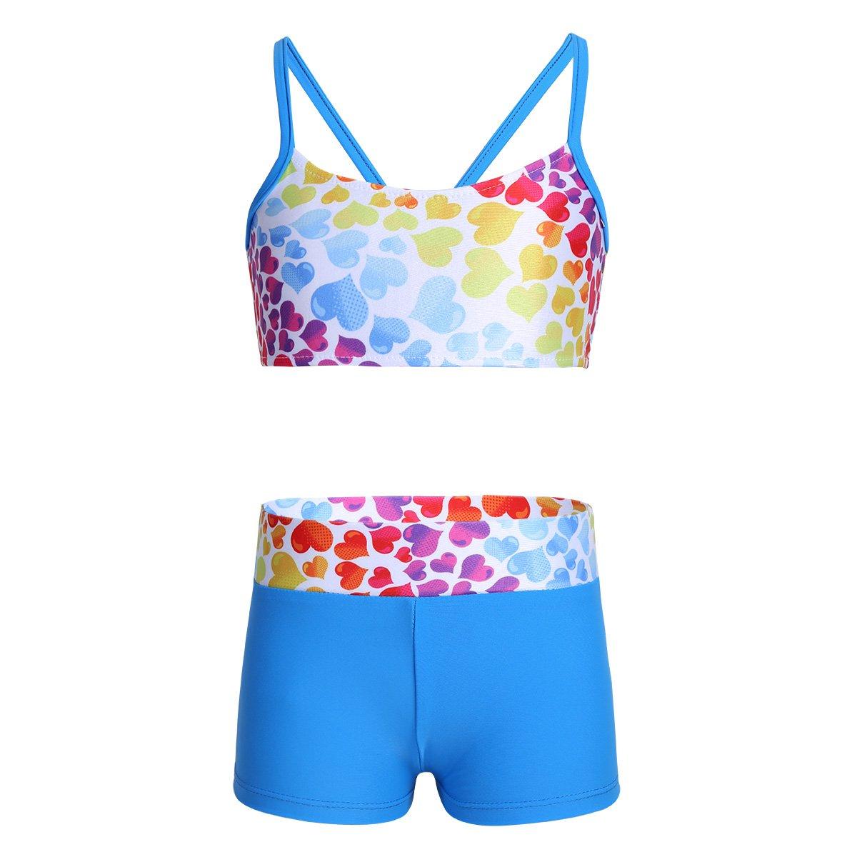 Freebily Girls Workout Sports Outfit Dance Crop Tank Top with Shorts set for Gymnastics Leotard Dancing Swimwear