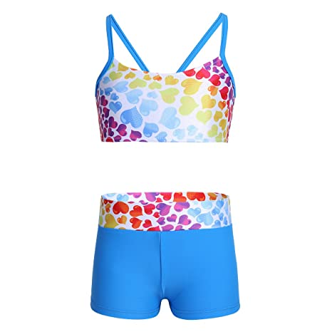 b1f71f9aec3f TiaoBug Kids Girls Sleeveless Sports Bra Crop Top with Shorts Set ...