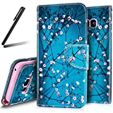 Samsung Galaxy S8 Plus Wallet Case,Galaxy S8 Plus Stand Case Girl,Galaxy S8 Plus 2017 Leather Cover,SKYMARS Buttterfly Flower PU Leather Fold Wallet Pouch Case Wallet Flip Stand Credit Card ID Holders Protective Case Cover for Samsung Galaxy S8 Plus 2017 Blue Peach Blossom Flower