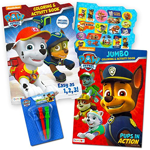 Paw Patrol Coloring Book Super Set -- 2 Coloring and Activity Books, Over 30 Stickers and Jumbo Toddler Paw Patrol (Super Coloring Book)