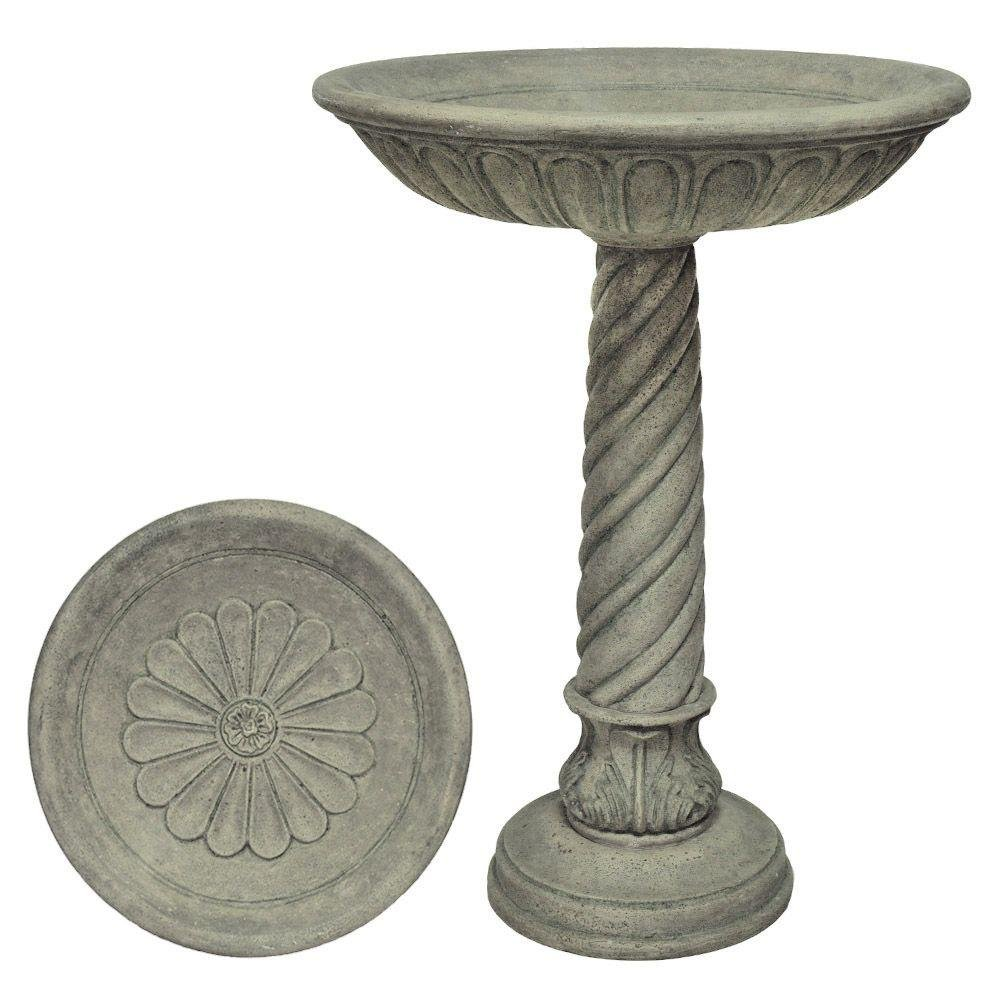 Special Aged Granite Finish Birdbath with Swirl Base by MPG Sport