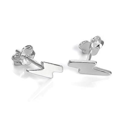 a49fa333e Sterling Silver Lightning Bolt Stud Earrings: Amazon.co.uk: Jewellery