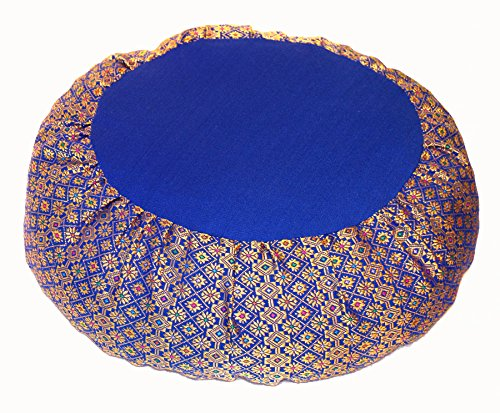 Meditation Cushion Zafu Pillow Buckwheat - Silk Brocade Royal ()