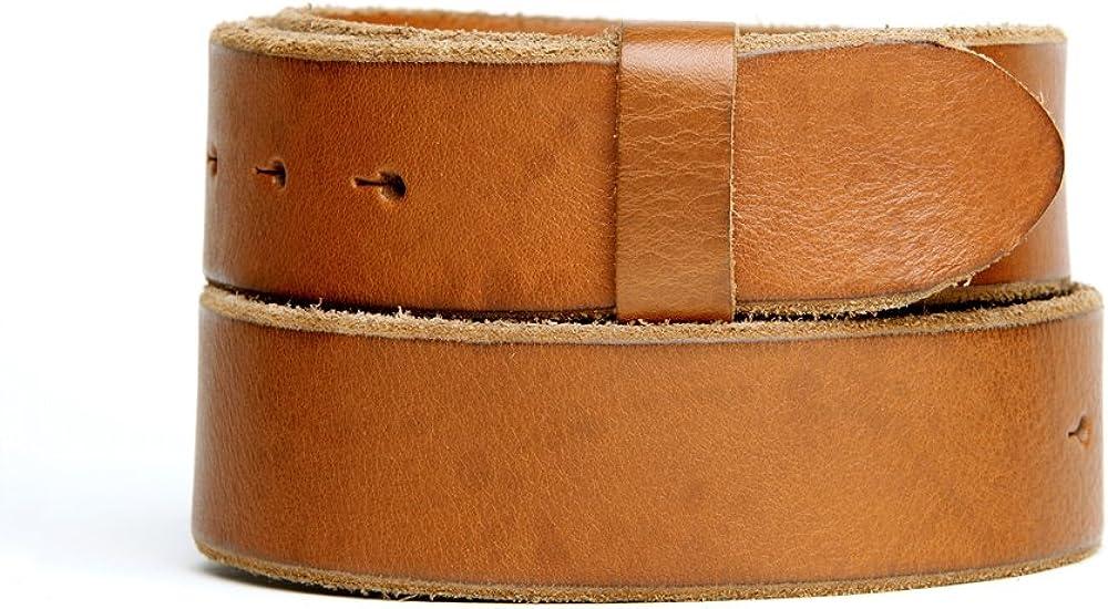 VaModa Belt, Cinturón en piel, Las Vegas Vintage, color cognac, sin hebilla