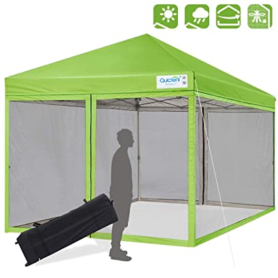 Quictent 10x10 Ez Pop up Canopy Tent Screened with Netting Screen House Mesh Side Wall (Green) : Garden & Outdoor