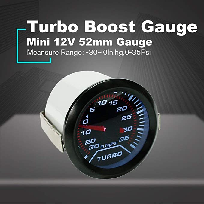 FDBF 12V Car LED Turbo Boost Gauge Meter Tester 52mm Smoke Lens Universal: Amazon.es: Hogar