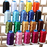 Threadart 20 Spool Polyester Embroidery Machine Thread Essential Colors | 1000M Spools 40wt | For Brother Babylock Janome Singer Pfaff Husqvarna Bernina Machines - 10 Sets Available