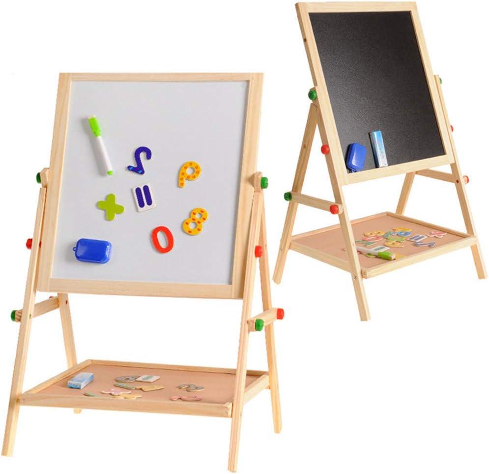 お絵かきボード 子供 調整可能な木製の図面ボードイーゼル両面チョーク黒板白ドライイレーズ表面磁気スポンジチョークボトムトレイマーカーペン