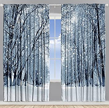 Farmhouse Woodsy Woodland Window Drapes for Bedroom Park Decor Snowy Forest  Trees Polar Winter Park Jungle