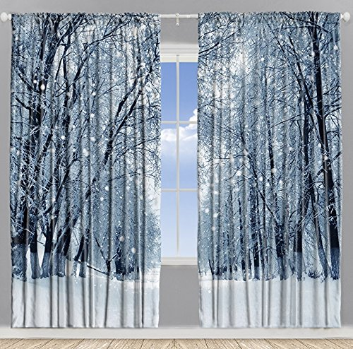 Farmhouse Woodsy Woodland Window Drapes for Bedroom Park Decor Snowy Forest Trees Polar Winter Park Jungle Icy Design Scenery View Living Kids Room Curtains 2 Panels Set, 108x84 Inch White Gray Black