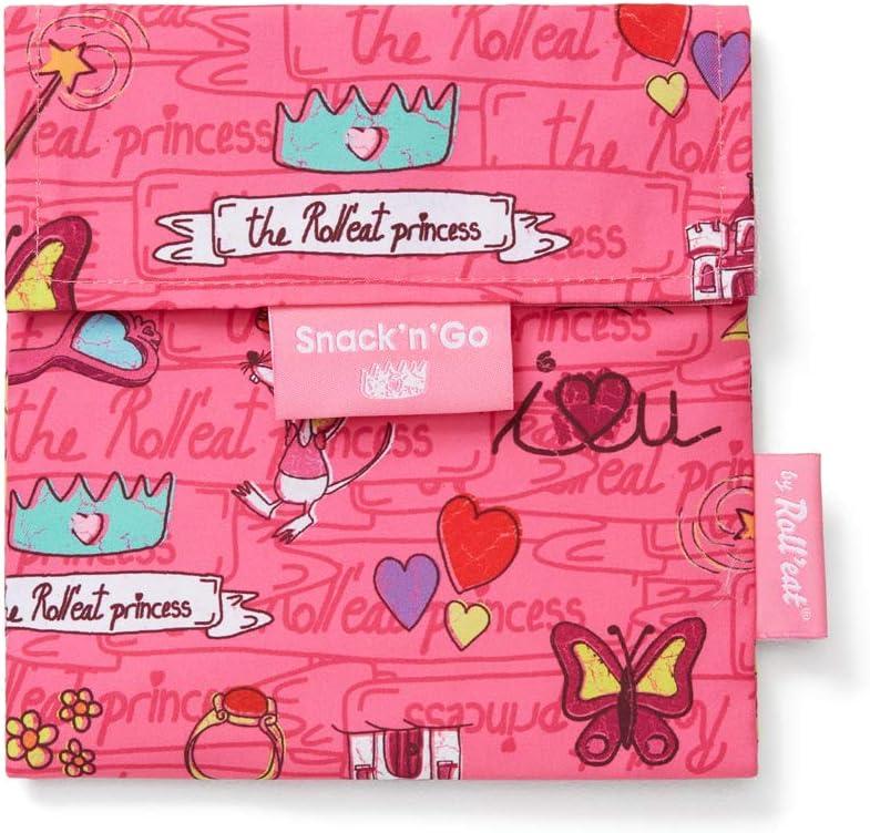 Roll'eat - Snack'n'Go Kids   Bolsa Merienda Infantil Porta Sandwich Reutilizable y Ecológico sin BPA, Princesas Rosa