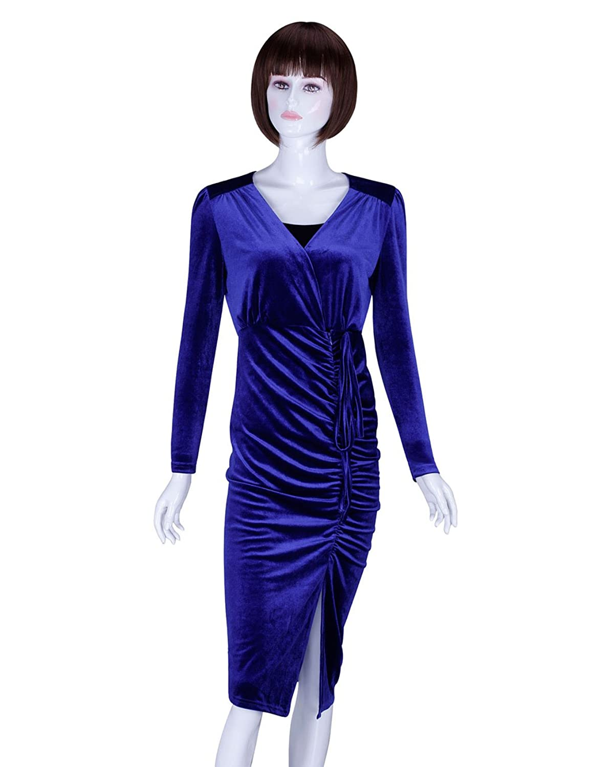 ADAMARIS Dress For Women Fall 2017 Deep V Neck Pleuche 3/4 Sleeve Slit Ruched Blue Black